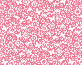 NEW! Fabric by the Yard - Fat Quarter Bundle - Quilt fabric - Pink Floral Fabric - Butterfly Fabric - Fabric Bundle - Flutterby