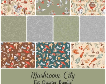 Mushroom City Fat Quarter Bundle - Includes 10 prints