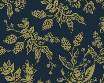 PREORDER - Fabric by the Yard - Rifle Paper Co - Fat Quarter Bundle - Quilt Fabric - Cotton+Steel - English Garden - Toile in Navy Metallic