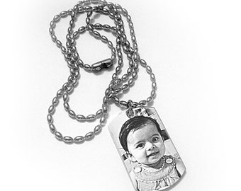 Stainless Steel Memorial Photo ID Dog Tag Necklace - Small