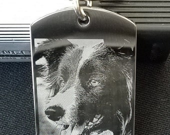 Stainless Steel Photo Engraved Dog Tag Style Key Chain Large