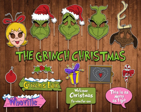 The Grinch Christmas Party.Grinch Grinch Christmas Christmas Party Party Decor Photo Booth Prop Selfie Prop Printable Instant Download