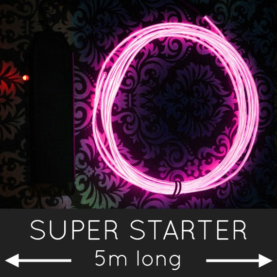 Lange EL Glow Wire Kit 5m / 16.5 ft coole Neon bunt hell