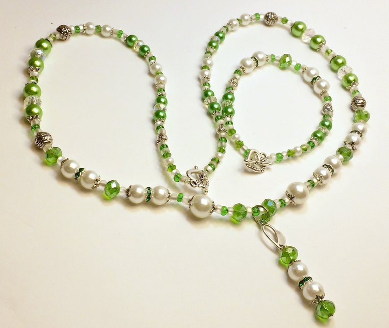 Glass Pearl and Crystal Necklace and Matching Bracelet with a Unique Handmade Pendant. Beaded Necklace