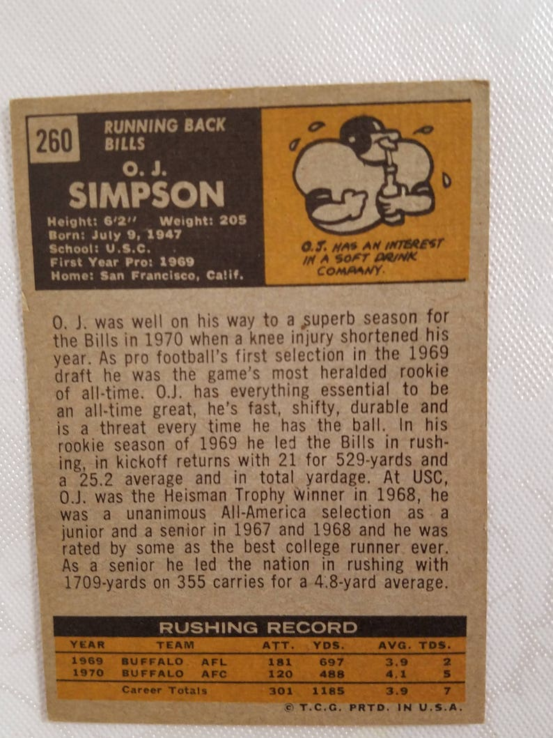 Topps 1971 OJ Simpson Buffalo Bills running back collectible playing card