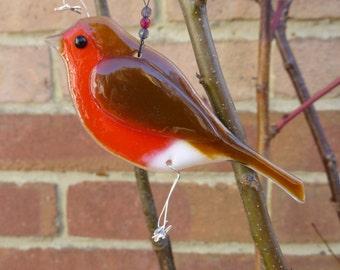 Robin fused glass bird, garden ornament, bird gift, garden decor, garden gift, garden bird, British bird, suncatcher, not just for Christmas