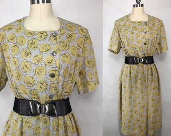 3827b66795 Japanese Vintage Abstract Floral Print Dress   Day Dress   Party Dress    Made in Japan   Size Medium Large