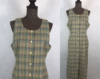10d9459f1b Vintage Japanese Plaid Wool Dress   School Dress   Sleeveless Dress   Made  in Japan   Size Medium Large