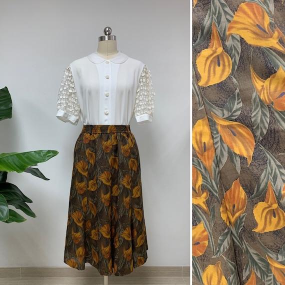 Adorable Japanese Vintage Floral Print Skirt / Sum