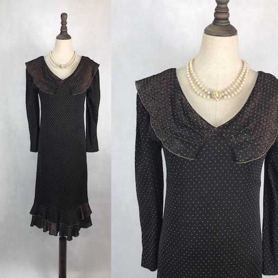 Vintage Japanese Polka Dots Cocktail Dress Black Evening Etsy