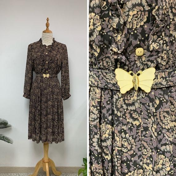 1970s Japanese Vintage Brown Floral Print Dress wi