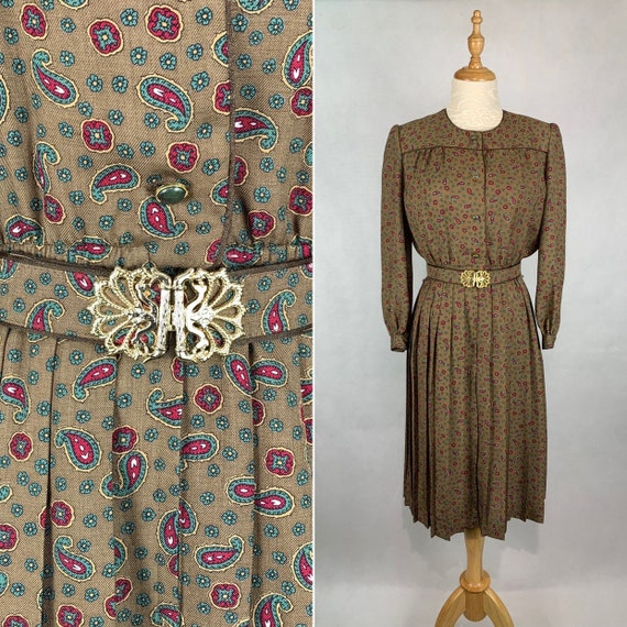 Elegant Vintage Japanese Paisley Print Dress with