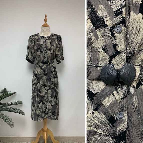 Vintage Japanese Abstract Watercolor Dress with be