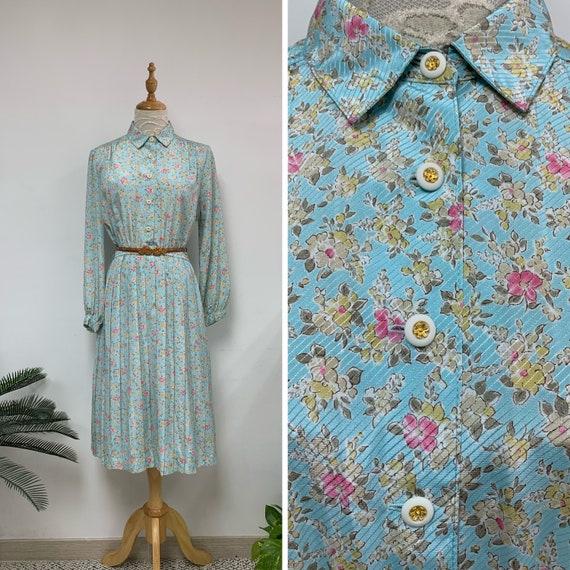 Gorgeous Vintage 70s Japanese Floral Print Dress /