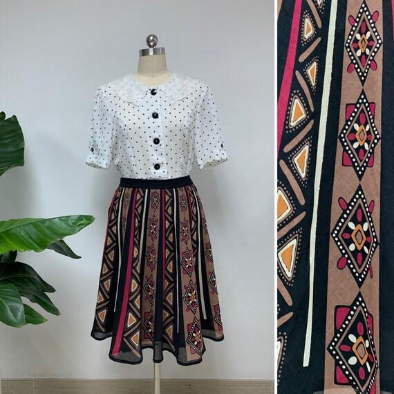 Japanese Vintage Summer Boho Skirt / Geometric Pri