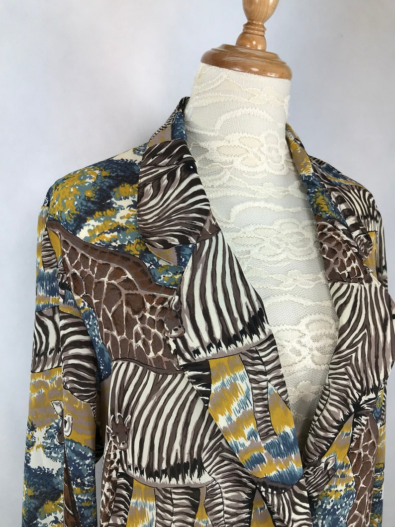 b39501155f Vintage Japanese Safari Giraffe Zebra Print Jacket   Animal