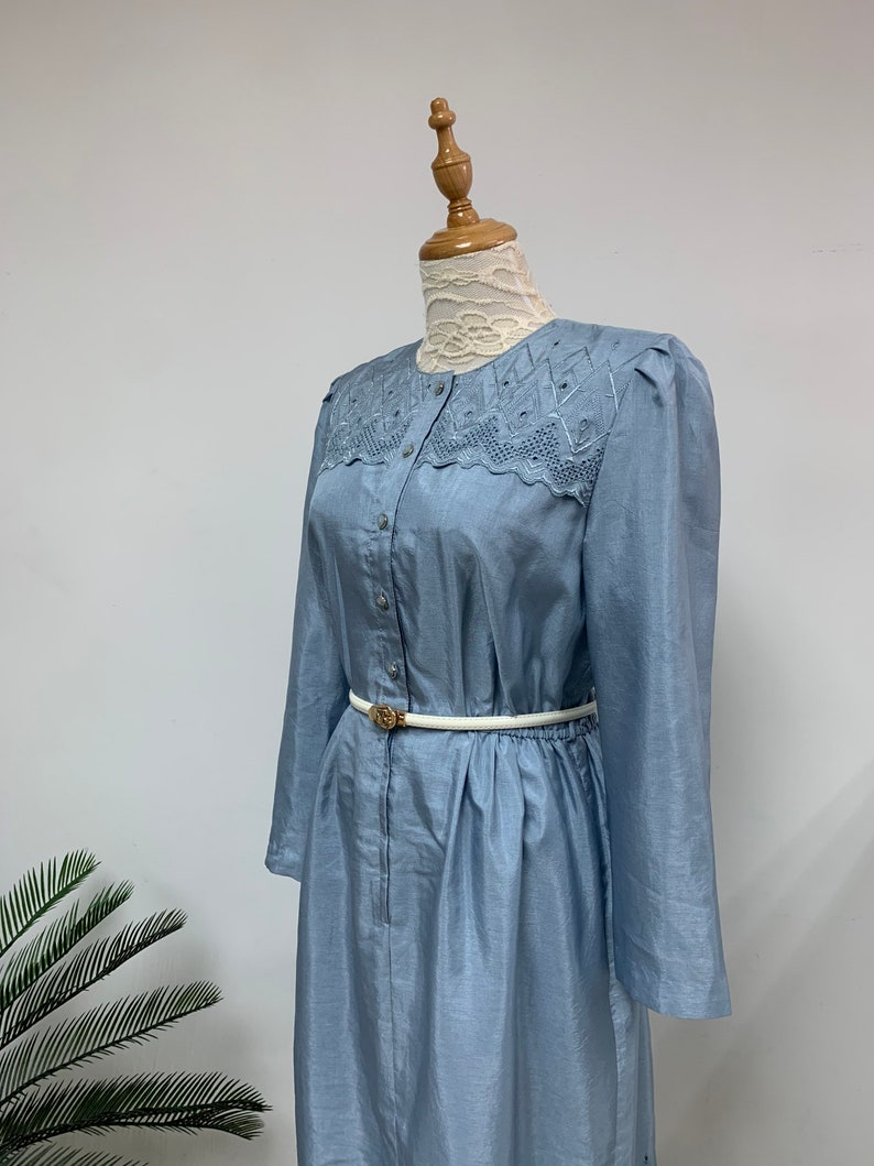 Amazing Japanese 1970s Vintage Cocktail Dress  Light Blue Dress  Spring Dress  Made in Japan  Size Medium
