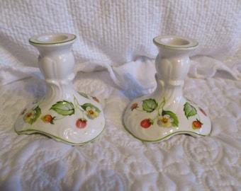 Vintage Set Of Two English Porcelain Old Foley James Kent Candle Holders