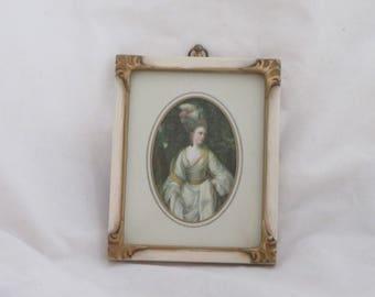Vintage Framed Miniature Victorian Portrait Print
