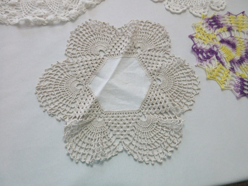Shabby Chic Antique Decor MCM Handmade Vintage Doilies Country Set of Three Multicolored
