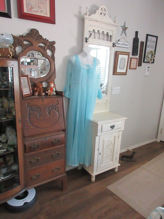 Vintage Lingerie- Night Gown Set -Blue- Lace- MCM-