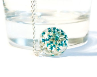 blue resin necklace, real flower necklace, resin jewelry, resin flower necklace, nature inspired necklace, real flower, resin pendant gift