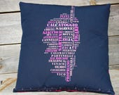 Cover of pillow, full-bodied, Design, black and pink fuchsia, 40x40cm