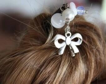 hair bow white wood