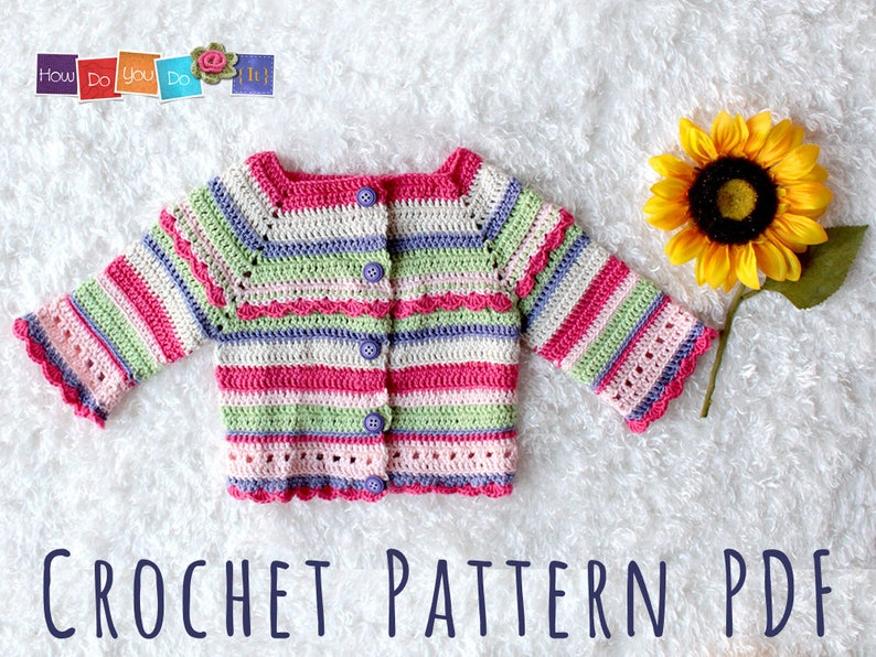 db4a3f4e2 Striped Baby Cardigan For Girl Baby Sweater Crochet Pattern