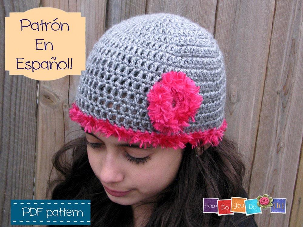 Gorro Juvenil Flor Spanish Pattern For Hat Patrón en | Etsy