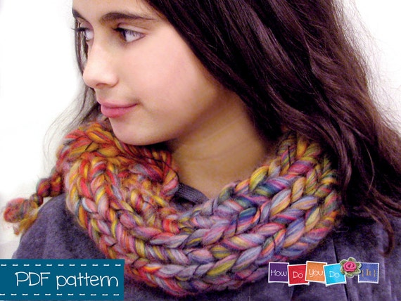 Knitting Pattern Scarf Chunky Yarn Cowl Scarf Cowl Pattern Etsy
