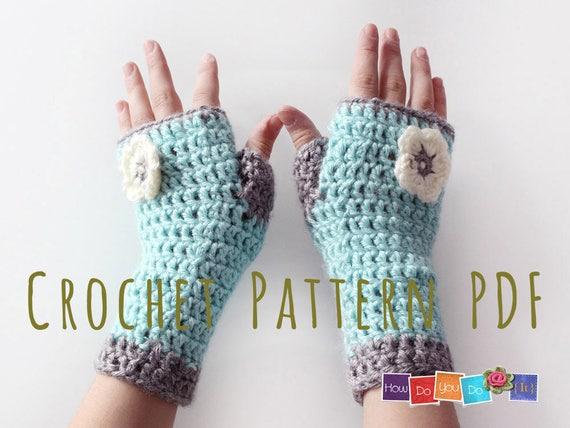 Fingerless Mittens For Kids Pdf Crochet Pattern Gloves For Etsy
