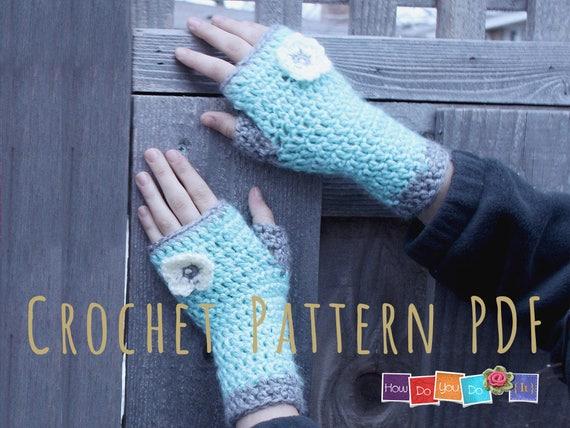 Pdf Crochet Pattern Fingerless Gloves For Kids Gloves For Etsy