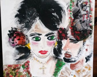 painting acrylic collage, flamenco woman portrait, dance