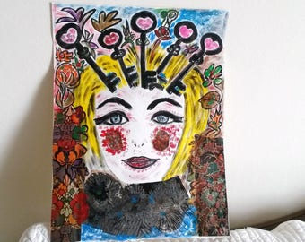 painting acrylic collage painting on paper A4 size, modern painting, the keys to the garden