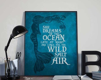 Mermaid Art Print Poster - She Dreams of the Ocean PRINTABLE 8x10 inches - Wall Art Printable, Inspirational Print, Home Decor, Gift