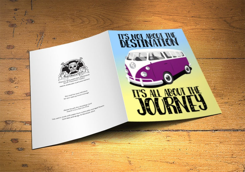 VW CamperVan Greetings Card Its not about the destination image 0