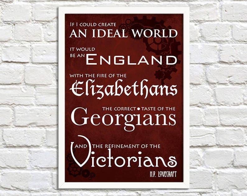 Steampunk Art Print Poster  An Ideal World  Lovecraft  Wall Red