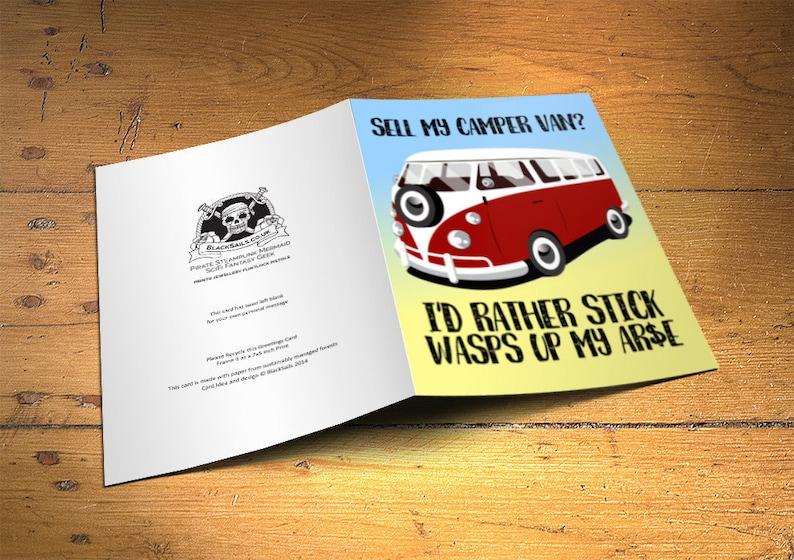 CamperVan Greetings Card Sell my Camper Van Home Decor image 0