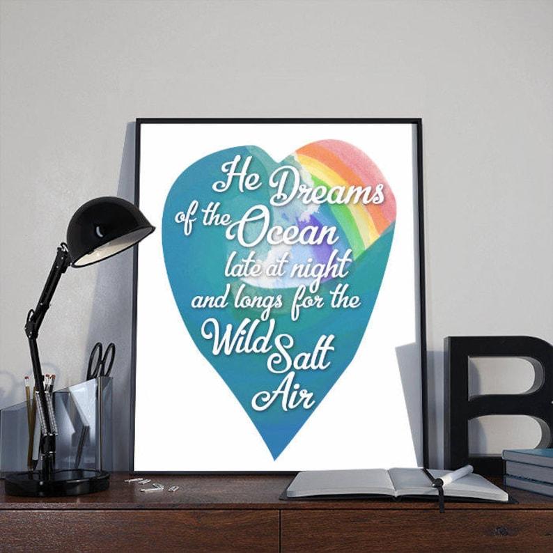 Wall Art Print He Dreams of the Ocean Rainbow INSTANT image 0
