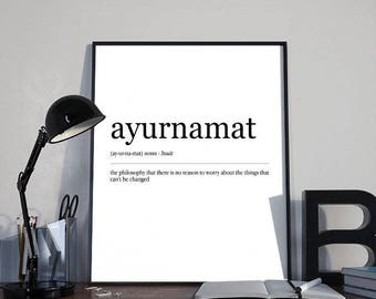 Inspirational Dictionary Word Art Ayurnamat INSTANT DOWNLOAD PRINTABLE Wall Art, Home Decor, Inspirational Humorous Gift, Minimalist Poster