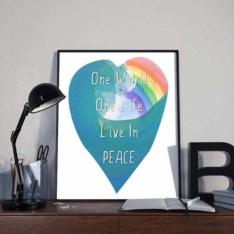 Art Print Poster One World One Life Live in Peace Rainbow image 0