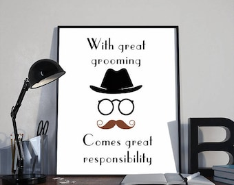 Retro Moustache Art Print Poster, With Great Grooming INSTANT DOWNLOAD Printable Home Decor, Inspirational Humorous Gift, 8x10 inches