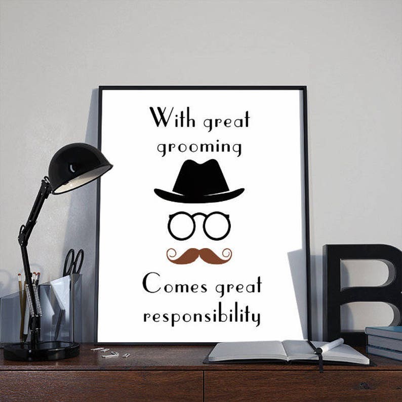 Retro Moustache Art Print Poster With Great Grooming INSTANT image 0