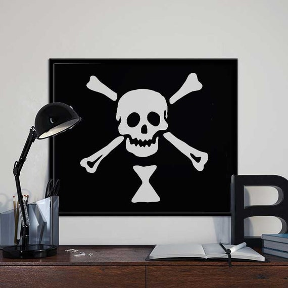picture about Pirate Flag Printable identified as Emanuel Wynn Pirate Flag - Preference Pirate Artwork Print Poster - PRINTABLE 8x10 inches