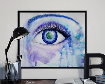 Earth Eye Original Watercolour Art Print INSTANT DOWNLOAD Printable, Watercolour Wall Art, Home Decor, Inspirational Gift 8x10 inches, A4