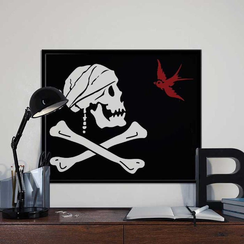 photograph about Pirate Flag Printable titled Captain Jack Sparrow Pirate Flag Pirates of the Caribbean Artwork Print Poster PRINTABLE Wall Decor, Print, House Decor, Present 8x10 inches