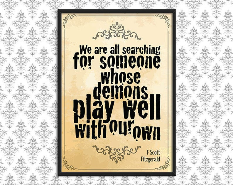 Gothic Art Print Poster  Demons Quote   Gothic Wall Decor Parchment