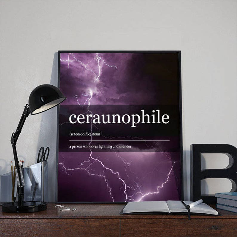 Inspirational Dictionary Word Art Ceraunophile INSTANT image 0