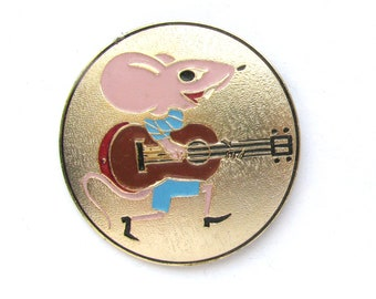 49f7ce55aec04 Mouse with guitar, Badge, Cartoon Vintage collectible badge, Animal, Pin,  Brooch, Made in USSR, 1980s, 80s
